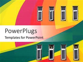 PowerPlugs: PowerPoint template with two rows of windows on colorful wall with yellow, pink, red, orange and green
