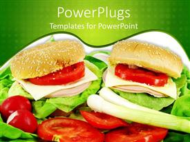PowerPlugs: PowerPoint template with two sandwiches with lettuce and tomato