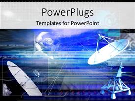 PowerPoint template displaying two satellite dishes aimed to pick up signal