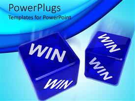 PowerPlugs: PowerPoint template with two semi transparent blue 3D dice with win word print on each side