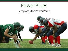 PowerPlugs: PowerPoint template with two separate rugby teams facing each other in a match