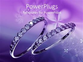 PowerPlugs: PowerPoint template with two shiny crystal wedding rings on a purple background