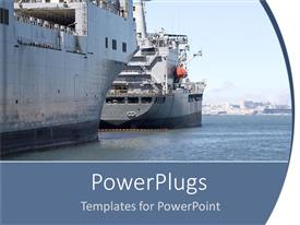 PowerPoint template displaying two ships sailing in the sea going to hit each other