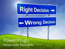 PowerPoint template displaying two sign posts with right decision arrow to right and wrong decision arrow to left