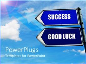 PowerPlugs: PowerPoint template with two signs with clouds in the background
