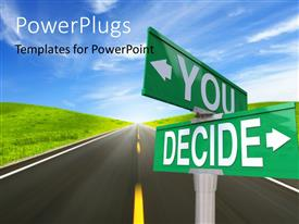 PowerPlugs: PowerPoint template with two signs with a road in the background