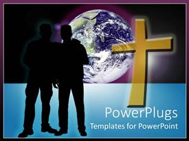 PowerPlugs: PowerPoint template with two silhouettes standing next to gold cross in front of planet with purple background