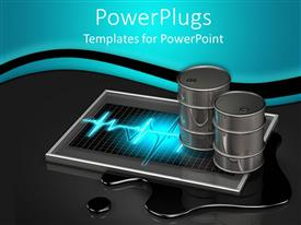PowerPoint template displaying two silver metal oil barrels on top of device with glowing pulse graphic on oil blot and oil drop