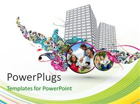 PowerPlugs: PowerPoint template with two skyscrapers along with a number of families
