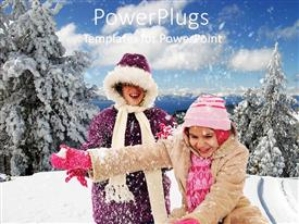 PowerPlugs: PowerPoint template with two smiling humans in winter coats  smiling and playing in snow