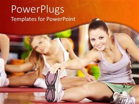 PowerPlugs: PowerPoint template with two smiling women stretching, fitness, gym, aerobics, exercise, sports