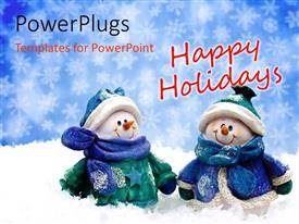 PowerPlugs: PowerPoint template with two snowman spending holidays with a bluish background