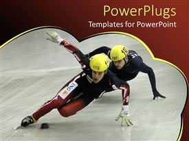 PowerPoint template displaying two sportsman trying to show their skill