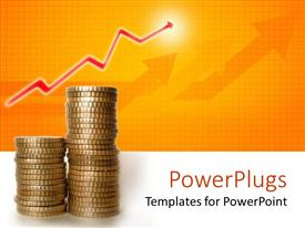 PowerPlugs: PowerPoint template with two stacks of coins with red arrows and bright light