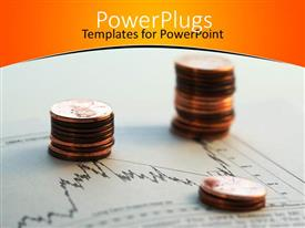 PowerPlugs: PowerPoint template with two stacks of gold coins on a graph sheet