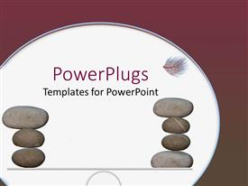 PowerPoint template displaying two stacks of smooth stones on a white background
