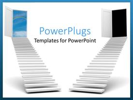 PowerPlugs: PowerPoint template with two stairs with one leading to cloudy sky and the other dark night