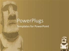 PowerPoint template displaying two stone ancient statues of on a brown background