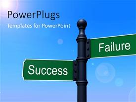 PowerPlugs: PowerPoint template with two street signs with sunlight and bluish background