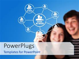 PowerPlugs: PowerPoint template with two students creating various bonds and bluish background