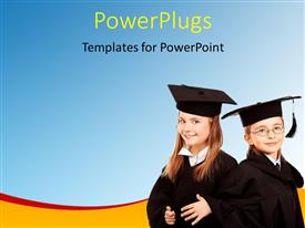 PowerPlugs: PowerPoint template with two students wearing the graduating dress