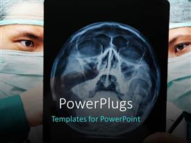 PowerPlugs: PowerPoint template with two surgeons with the X-ray of a head