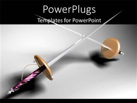 PowerPoint template displaying two swords with grayish and blackish background