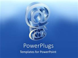 PowerPoint template displaying two @ symbols on top of each other on blue background
