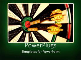 PowerPoint template displaying two target arrows hitting the center mark of target