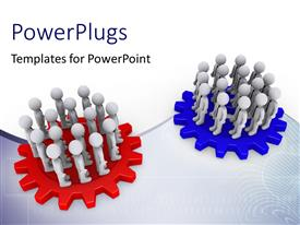 PowerPlugs: PowerPoint template with two teams standing on red and blue colored cogwheels face each other