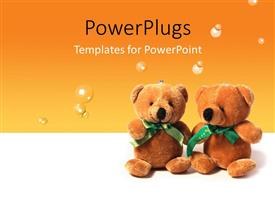 PowerPlugs: PowerPoint template with two teddy bears sitting on an orange colored background