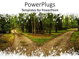 PowerPlugs: PowerPoint template with two terrain roads separated in different directions between forest trees, hiking trails in forest with floral white pattern top and bottom