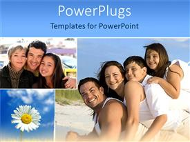 PowerPlugs: PowerPoint template with two tiles on happy families smiling with a white flower