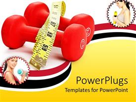 PowerPoint template displaying two tiles showing ladies doing exercises with dumbbells and a measuring tape