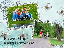 PowerPlugs: PowerPoint template with two tiles with smiling adults and children on a field