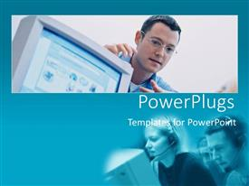 PowerPlugs: PowerPoint template with two tiles of three adults wearing headphones and pointing at a computer