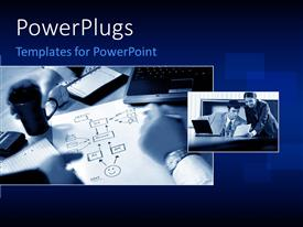 PowerPlugs: PowerPoint template with two tiles with two business people having a meeting