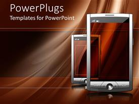 PowerPoint template displaying two touch screen of mobile devices with different shades of brown in the background