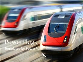 PowerPlugs: PowerPoint template with two trains moving with enormous speed side by side