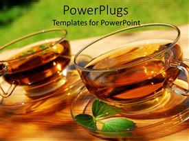 PowerPlugs: PowerPoint template with two transparent glass cups with brewed mint tea leaves