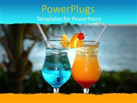 PowerPlugs: PowerPoint template with two tropical cocktails with island background, vacation, travel