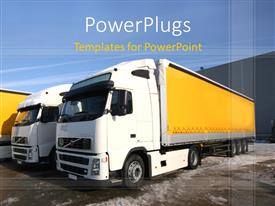 PowerPlugs: PowerPoint template with two trucks with clear sky in the background