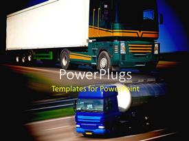 PowerPoint template displaying two trucks driving on speed on a tarred road