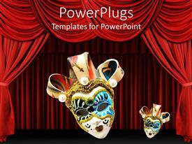 PowerPlugs: PowerPoint template with two Venetian masks on red theater curtains background, one large Venetian mask and one small Venetian mask