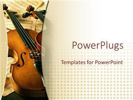 PowerPlugs: PowerPoint template with two violins on multiple music sheets in the background inspiring music concept