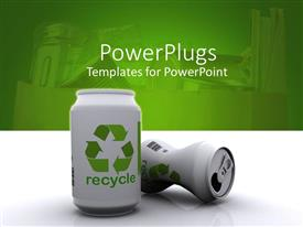 PowerPlugs: PowerPoint template with two white 3D aluminum cans with green recycle sign and word on white mirroring table and green background