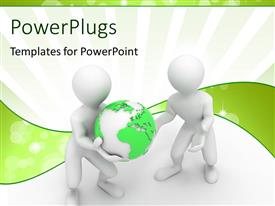 PowerPlugs: PowerPoint template with two white 3D characters carrying a green earth globe