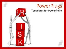 Beautiful presentation having two white 3D figures working in team to form the word risk written on red cubes