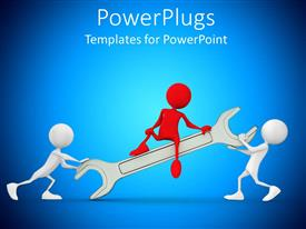 PowerPoint template displaying two white 3D men carrying spanner while red 3D man sits on it