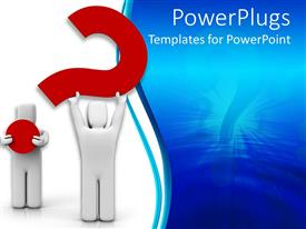 PowerPlugs: PowerPoint template with two white colored 3D human characters holding a red question mark